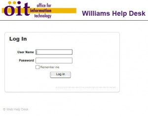 Web HelpDesk login screen
