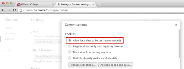 Enabling cookies in Chrome