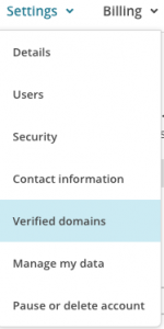 Mailchimp settings menu for verified domains