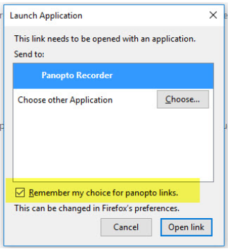 Launch Panopto OK Window